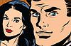 Векторный клипарт: Красивая пара мужчина и женщина, поп-арт ретро