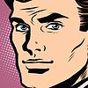 Векторный клипарт: Мужской лицо профиль поп-арт