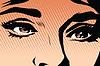 Векторный клипарт: Карие глаза ретро женщина поп-арт