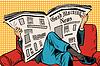 Векторный клипарт: утренняя газета читает человек