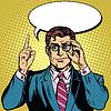 Векторный клипарт: Ретро бизнесмен говорит