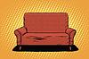Векторный клипарт: Красный диван, то искусство ретро