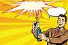 Векторный клипарт: Ретро человек открывает шампанское праздник вечеринка праздник