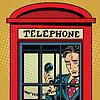 Векторный клипарт: Ретро человек плачет в телефонной будке