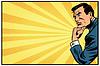 Векторный клипарт: Задумчивый человек ретро фон мыслитель