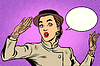 Векторный клипарт: Удивленный ретро леди