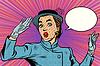 Векторный клипарт: Удивленный ретро вуаль дама