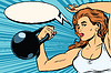 Векторный клипарт: сильная женщина спортсменка с весами
