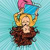 Векторный клипарт: Красивая девушка с ног на голову графический планшет