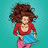 Векторный клипарт: Красивая девушка лежит графический планшет наушники