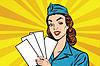 Mädchen Retro Stewardess mit weißen Formen Broschüre