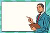 Beautiful black businessman presentation | Stock Vector Graphics