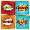 Векторный клипарт: Набор ретро комиксов пузырей поп-арт фразы