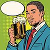Векторный клипарт: Элегантный черный человек с пивом