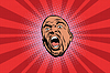Векторный клипарт: Кричащие черный человек голова поп-арт
