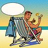 Векторный клипарт: Красивый черный человек отдыхает на пляже