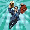 Векторный клипарт: Пиво человек супергероя летающих