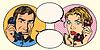 Векторный клипарт: Урожай пара мужчина и женщина разговаривает по телефону