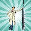 Retro Arzt mit Thermometer