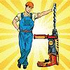 Schöne professionellen Builder mit Bohrmaschine