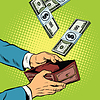 Geld fällt in Brieftasche, finanzielle Gewinne und