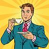 Retro Geschäftsmann Tee zu trinken