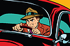 Serious Retro Mann fahrenden Auto