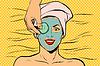 Gurkenmaske auf Frau Gesicht, Haut Schönheit