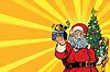 Weihnachtsmann Weihnachtsbaum und Geschenk, Kopier-Raum links