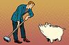 Векторный клипарт: Ретро бизнесмен хочет сломать милый поросенок банк