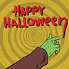 Векторный клипарт: Happy Halloween монстр рисует кровь