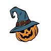 Vektor Cliparts: Lustige Halloween-Kürbis Hut Pilger