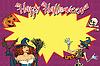 Vektor Cliparts: Happy Halloween Hintergrund mit Hexe, Skelett