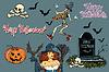 Vektor Cliparts: Happy Halloween Sammlung von Zeichen. Aufkleber