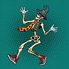 Vektor Cliparts: Lustiges Halloween-Skelett in modernen Bindung und