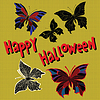 Happy Halloween set night butterflies dead | Stock Vector Graphics