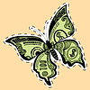 Butterfly dollar bill label sticker | Stock Vector Graphics