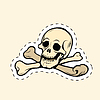 Skull and bones Jolly Roger label sticker | Stock Vector Graphics