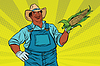 African American farmer with corn on cob | Stock Vector Graphics