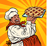 African American or Latino cook with berry pie | Stock Vector Graphics