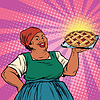 Retro old female African-American berry pie | Stock Vector Graphics