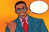 Positive afrikanischen Geschäftsmann Daumen Richtung zeigt