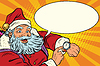 Santa Claus shows on clock, New year and Christmas | 向量插图
