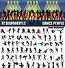 Große Reihe von Silhouetten von Menschen tanzen