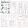 Große Reihe von Mustern von Frauen Kleidung und Elemente o | Stock Vektrografik