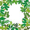 Векторный клипарт: квадратная рамка с различными листьями