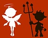 Векторный клипарт: Маленькие ангелочек и дьяволенок