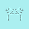 Zwei Palmen-Silhouette