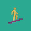 Mann auf Treppen, die steigen symbol