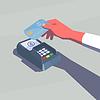 Das kontaktlose Bezahlen. Weibliche Hand, die Kreditkarte.